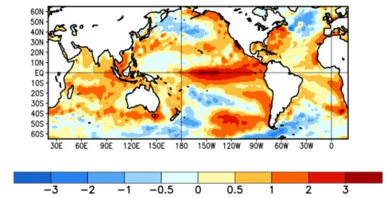 The sea surface temperature deviation from normal shown over the last four weeks (10 January – 6 February 2016). Image courtesy of NOAA NCEP Climate Prediction Center.