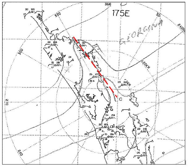 The Northland lee/heat trough (circled in red), as analysed by a MetService forecaster at 3pm, 10 January 2017