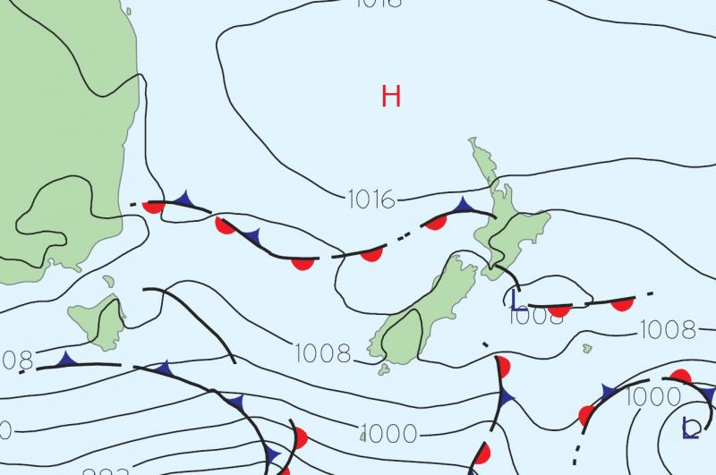 The broad-scale weather map over New Zealand, as analysed at 1pm, 10 January 2017.