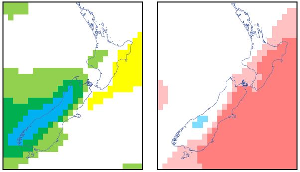 Forecast weekly rainfall anomaly (left) and temperature anomaly (right)