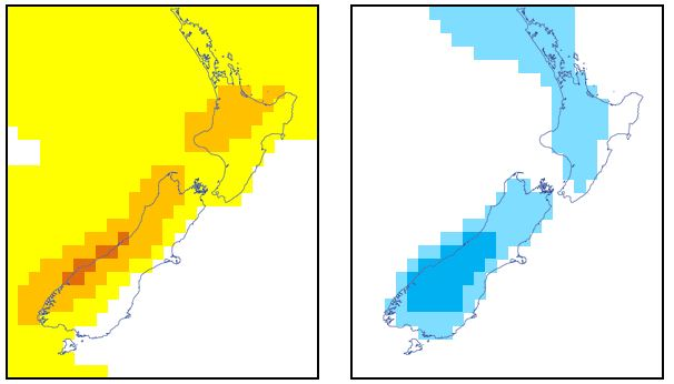 : Forecast weekly rainfall anomaly (left) and temperature anomaly (right)