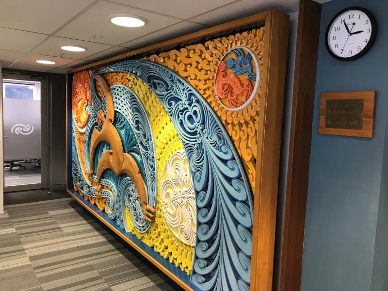 'Tawhirimatea and children' mural in MetService's reception area