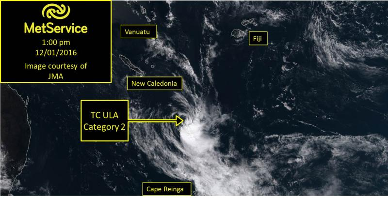 Satellite image of TC Ula
