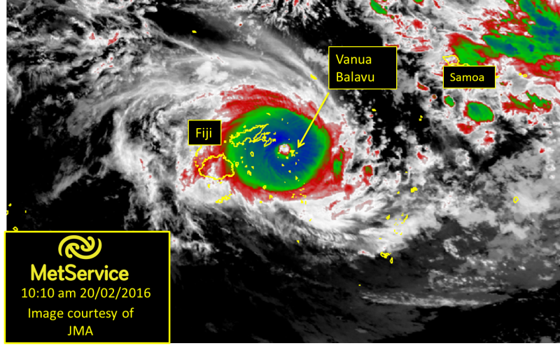 Infrared satellite image (indicating cold cloud top temperatures) showing the location of TC Winston at 10.10am Saturday 20th February 2016. Note the circle in centre of the TC showing clearly the eye of the TC