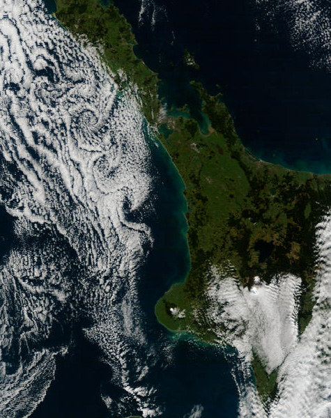 Kármán Vortex street west of the North Island, 10:15am 21 June 2009.<br /> (Image courtesy of MODIS Rapid Response Project at NASA/GSFC.)