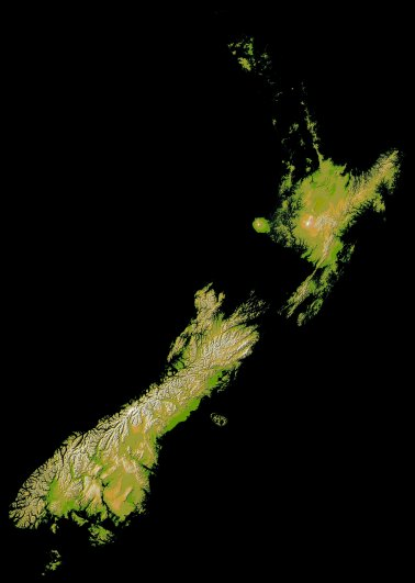 NZ topography with low-lands blacked out