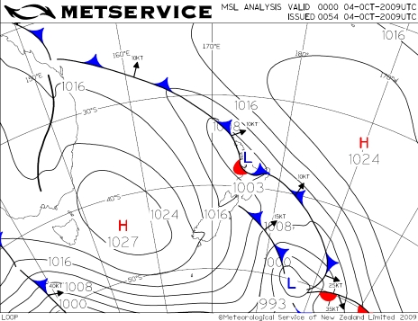 Wetaher Map 1pm Sunday 4 October  2009 (0000UTC)