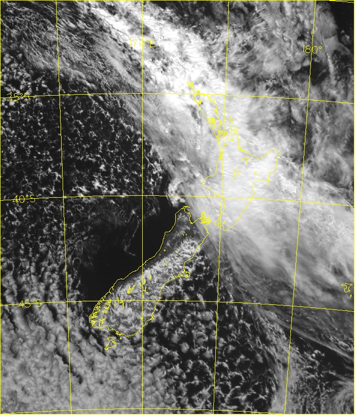 Satellite image (visible) 1pm Sunday 4 October 2009 (0000UTC)