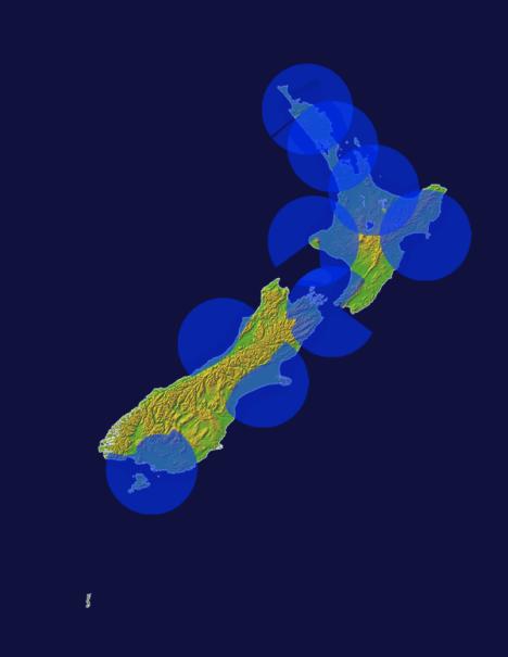 Areas of high-resolution radar coverage