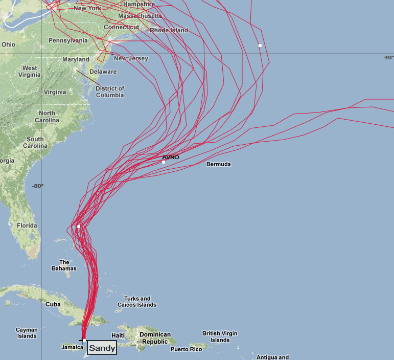Global Ensemble Forecast System forecast tracks for SANDY (courtesy NOAA)