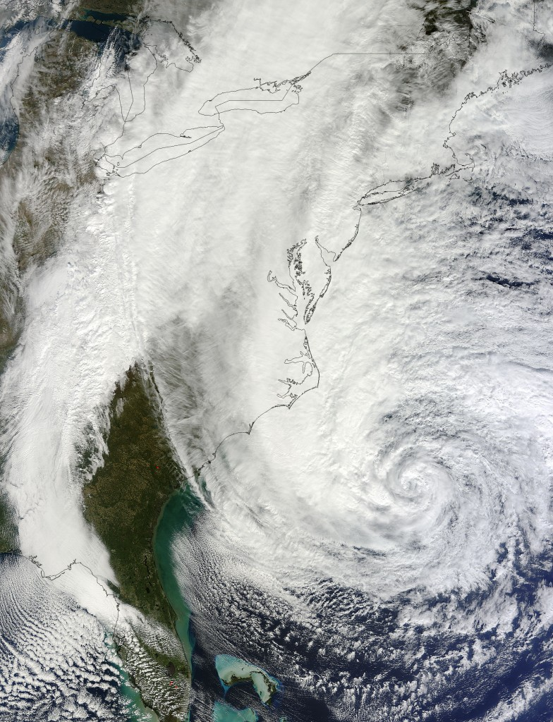 MODIS image of Hurricane SANDY on 28th October 2012