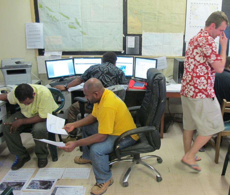 Met staff in the Solomon Islands in a practical exercise