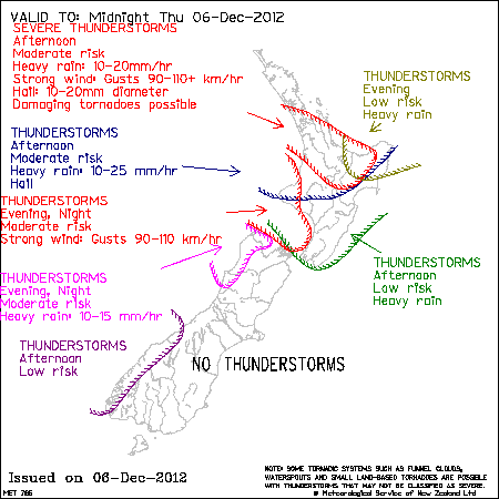 Severe Thunderstorm Outlook map valid to Midnight Thursday 6 Dec 2012, issued at: 2:52pm Thursday 6 Dec 2012