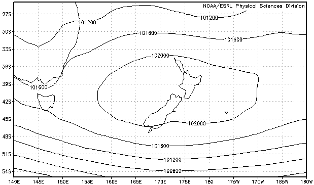 Mean sea level pressure, averaged over the period 0000UTC 24-Jan-2013 to 1800UTC 23-Feb 2013. Image provided by Physical Sciences Division, Earth System Research Laboratory, NOAA, Boulder, Colorado, from their Web site at http://www.esrl.noaa.gov/psd/