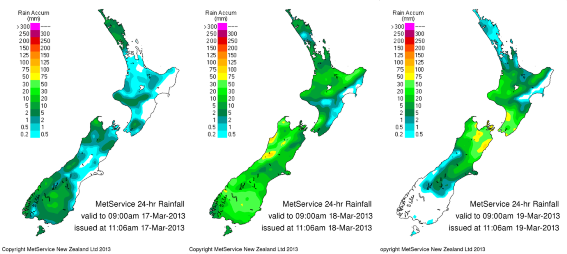 Figure 3: Rainfall distribution March 16th to 18th 2013