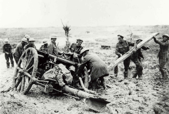 Soldiers with a gun at Passchendaele