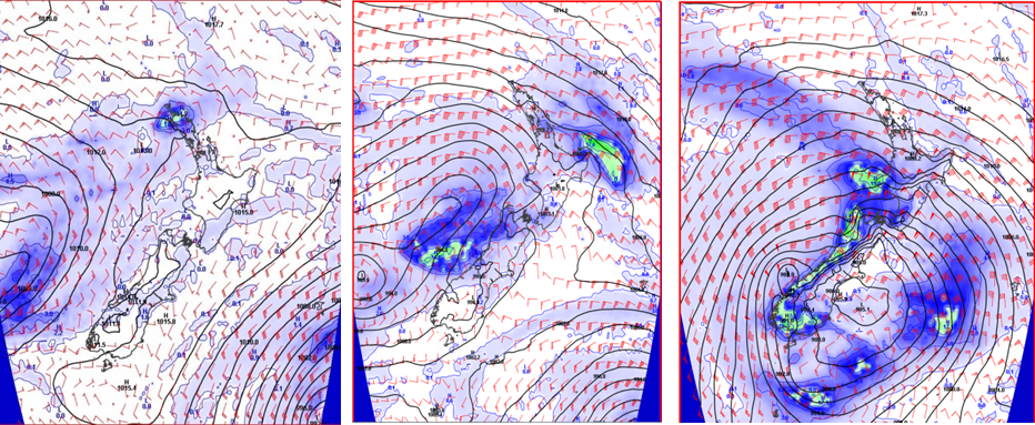 These forecasts, showing pressure, rainfall and upper level winds, are for the same time but from different computer model runs. Although the story is similar the timings are very different, meaning the difference between