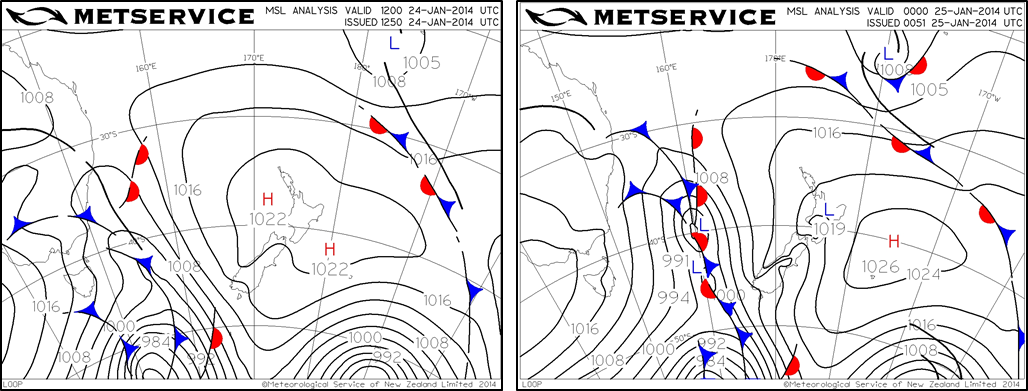Pressure analysis charts for 1am and 1pm on the 25th January 2014.