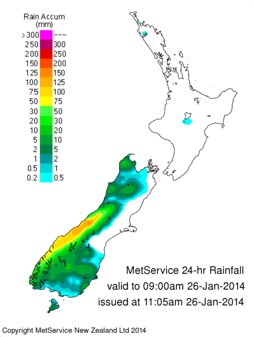 24 hour rainfall accumulation across New Zealand for the 25th Jan 2014
