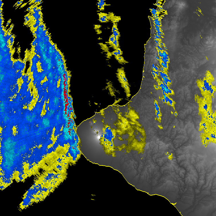 This radar image, from 3:15pm, shows the arrival of the front on the coast of Taranaki, the bright red colours showing the heaviest rainfall and although short-lived this burst of rain resulted in over 25mm of rainfall falling in much less than an hour.