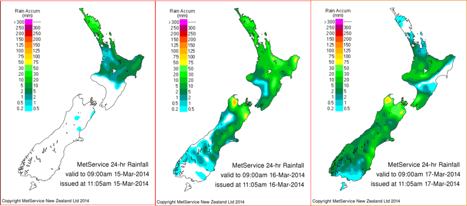 Accumulated rainfall across New Zealand for the 14th to 16th March 2014.