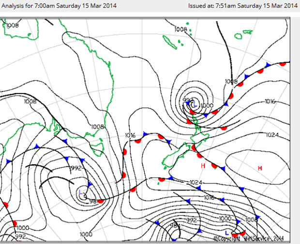 Surface pressure analysis from 7am 15th March 2014