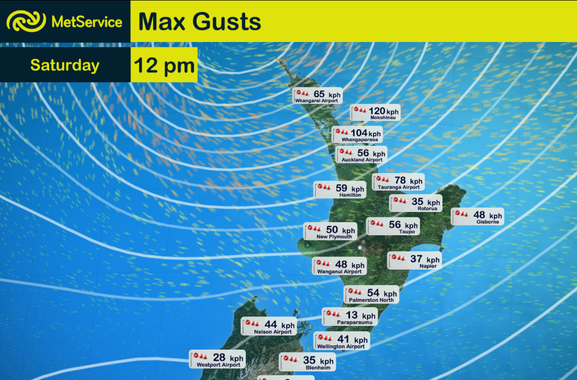 This snapshot shows the strongest gusts recorded in the hour before midday on the 15th