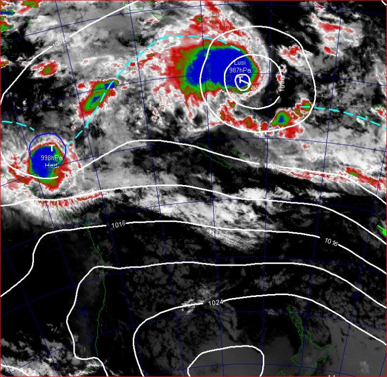 ressure analysis and satellite image from 7am  on the 11th March 2014