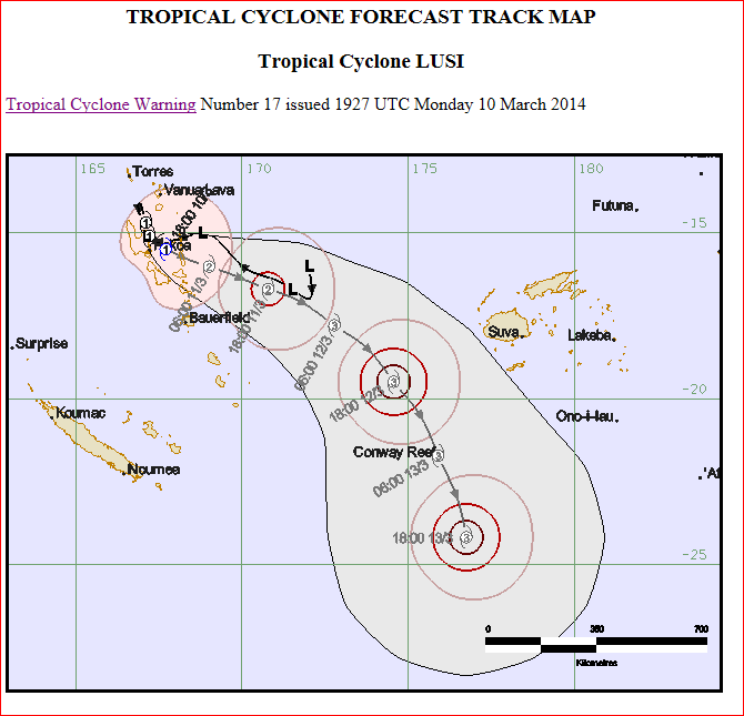 Tropical cyclone track map