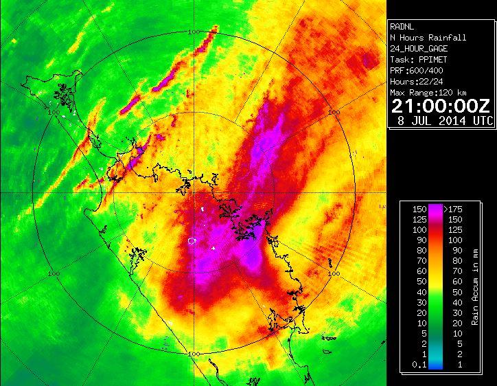 Gauge corrected radar from Northland