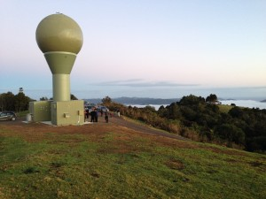 The view from the radar atop Te Huia hill out to Whangaroa Harbour.