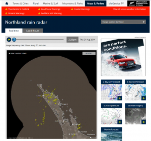 The Northland radar imagery as it appears on metservice.com