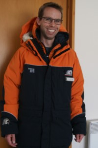 MetService Meteorologist John Law in his Extreme Cold Weather (ECW) gear ahead of departure to Scott Base.