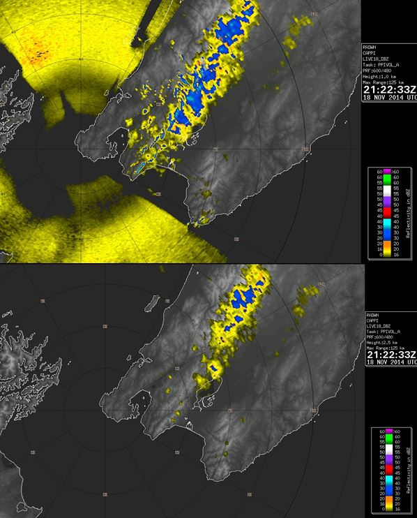 Figure 2: Two views of the 'constant altitude plan position indicator' (CAPPI) display from the Wellington weather radar. The top radar image shows reflectively at an altitude of 1 kilometre, while the bottom image shows reflectivity at 2.5 kilometres. Note the sea clutter in Cook Strait is absent in the higher altitude CAPPI view, as is ground clutter about the Rimutaka Ranges and down to Turakirae Head.
