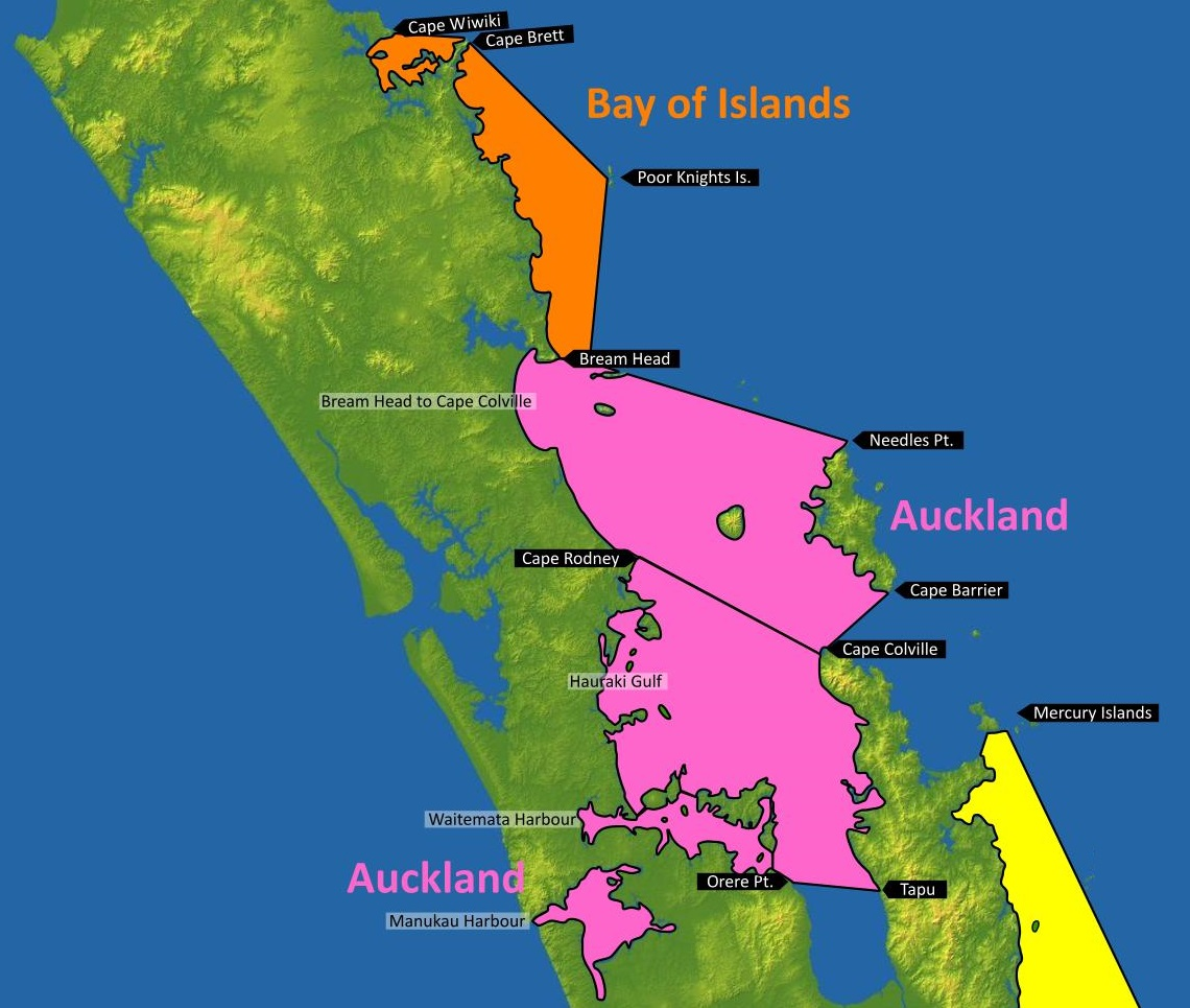 Figure 1: Bay of Islands and Auckland MetService recreational marine forecast areas