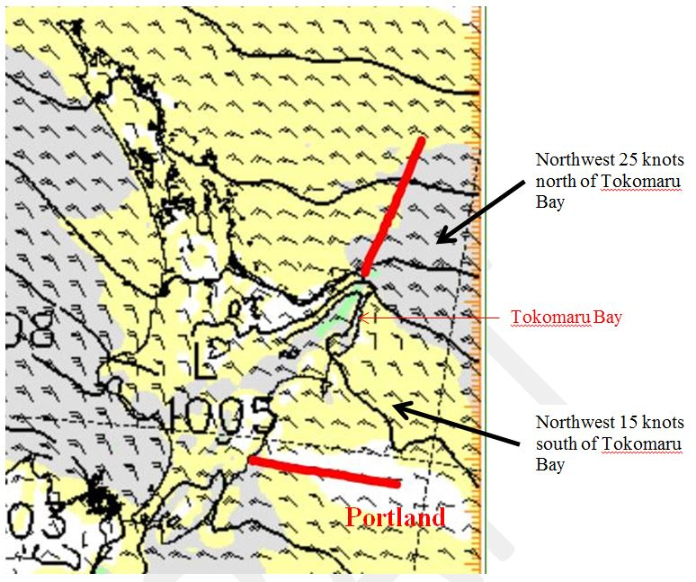 Map showing MetService wind guidance with different wind speeds within the same coastal area caused by the topography.