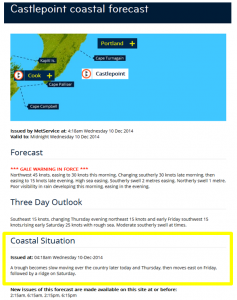 Example of a MetService coastal situation statement .