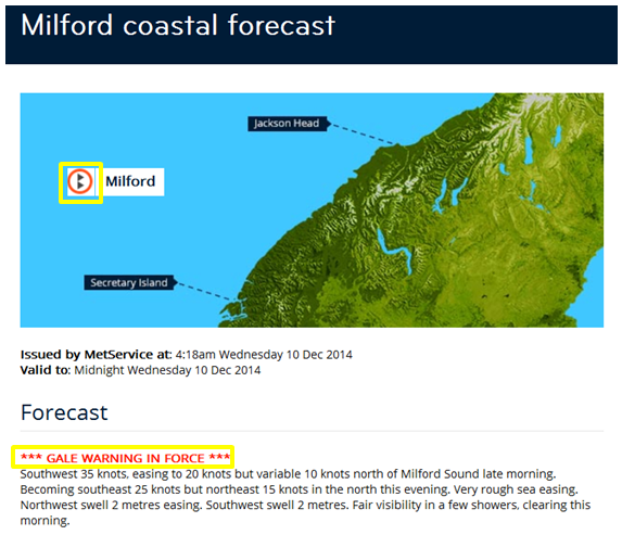 Example of a MetService coastal warning.