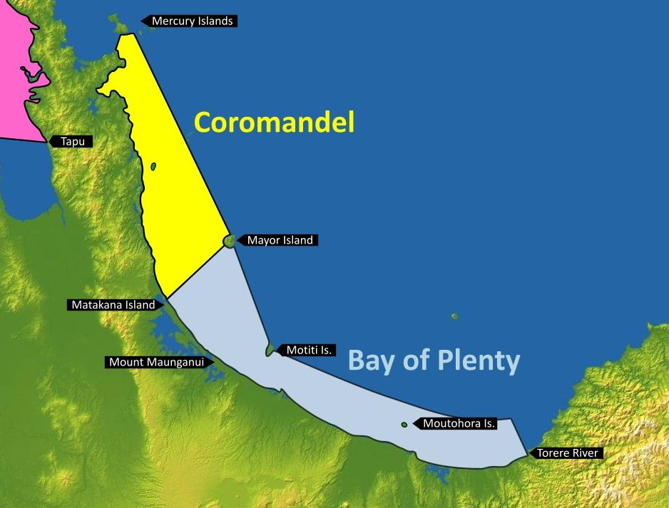Figure 2: Coromandel and Bay of Plenty MetService recreational marine forecast areas