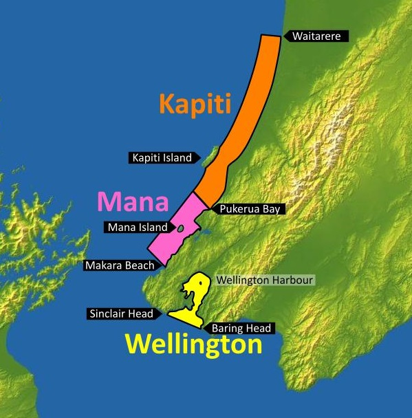 Figure 4: Kapiti, Mana and Wellington MetService recreational marine forecast areas