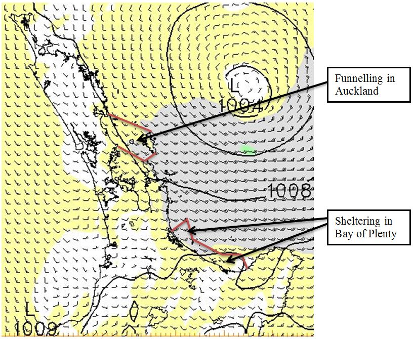 Figure 6: Example of MetService wind guidance showing different conditions within the same recreational marine area