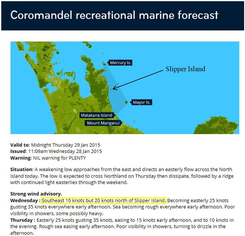 Figure 7. Example of Coromandel recreational marine forecast split into two areas (highlighted in yellow box).