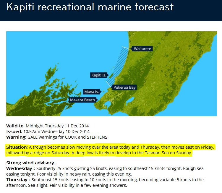 Figure 8: Example of Kapiti recreational marine forecast situation statement (highlighted in yellow)