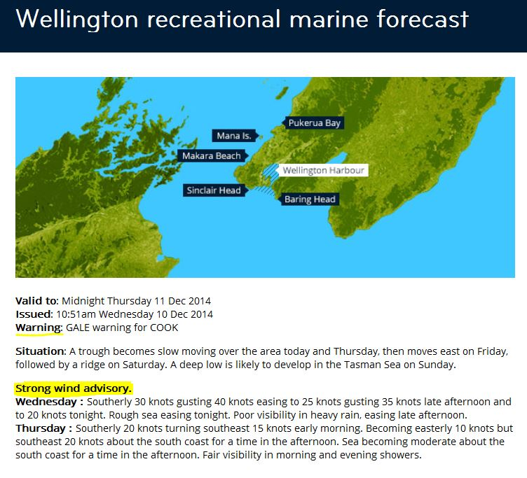 Figure 9: Example of the Wellington recreational marine forecast with a strong wind advisory in force