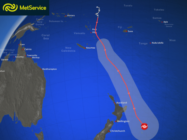 Forecast path of cyclone Pam