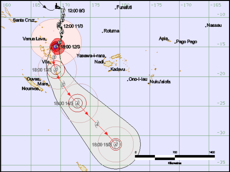 The latest forecast track Map from RSMC Fiji, issued at 8:24am Friday Morning