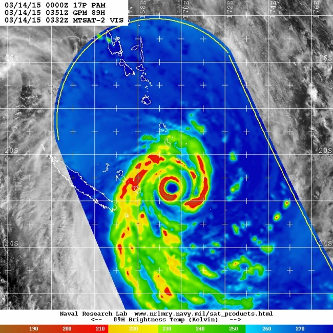 A microwave image of Severe Tropical Cyclone Pam soon after its peak intensity and crossing Vanuatu on Saturday 14th March. This type of imagery provides a unique view of the structure of cyclone by looking through the cold cirrus clouds and into the convective rainbands spiralling around the centre.