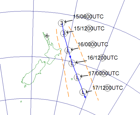 Track of TC Pam. The orange lines mark the uncertainty of the track. Times are given in UTC, add 13 hours for New Zealand local time.