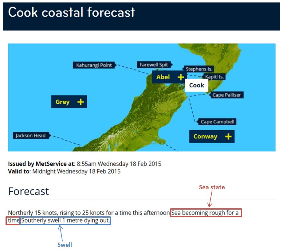 Figure 11: Example of sea state and swell in a MetService coastal marine forecast