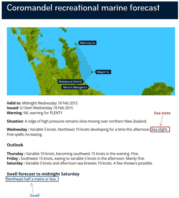 Figure 12: Example of sea state and swell in a MetService recreational marine forecast